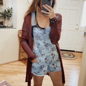 Free People Pinstriped Floral Shortalls